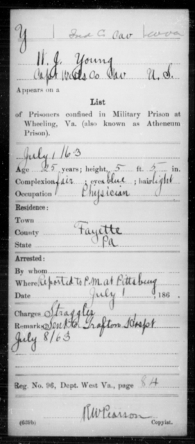 Young, W J - Age 25, Year: 1863 - Miscellaneous Card Abstracts of Records - West Virginia