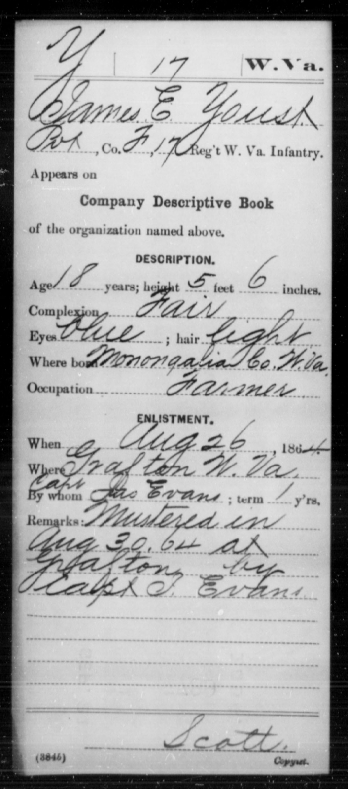 Youst, James E - Age 18, Year: 1864 - Miscellaneous Card Abstracts of Records - West Virginia