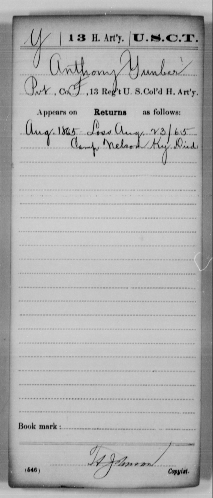 Yunber, Anthony - Age [Blank], Year: 1865 - 13th US Colored Heavy Artillery, Misc Cards - United States Colored Troops: Artillery Organizations