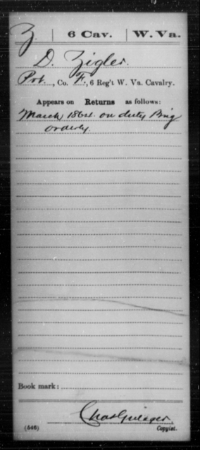 Zigler, D - Age [Blank], Year: 1864 - Miscellaneous Card Abstracts of Records - West Virginia