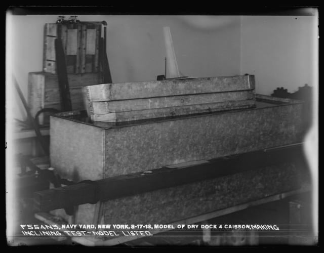 Model of Dry Dock 4 Caisson, Making Inclining Test - Model Listed