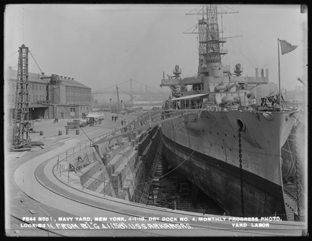 Dry Dock Number 4, Monthly Progress Photo, Looking North From Building 41 (58) USS Arkansas, Yard Labor