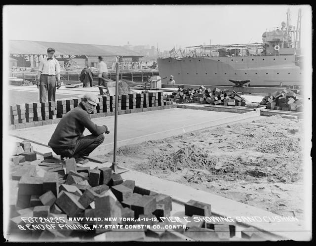 Pier E, Showing Sand Cushion and End of Paving, New York State Construction Company, Contractor