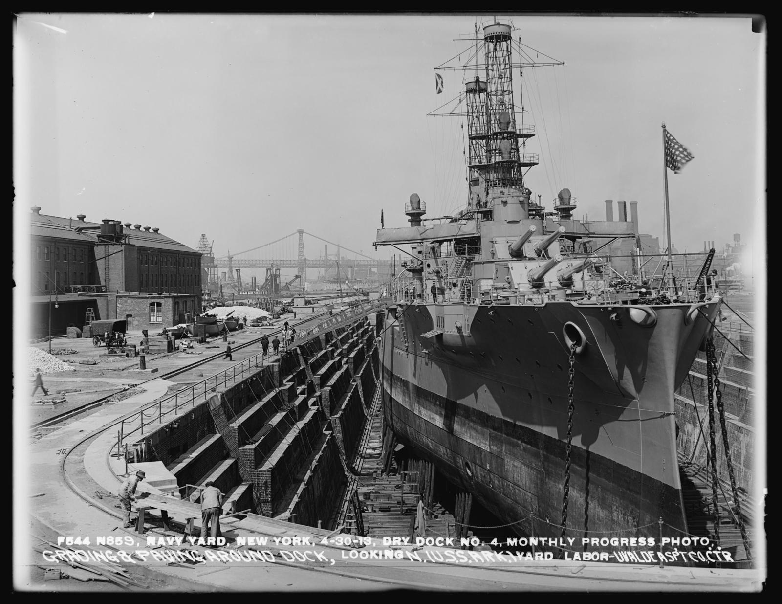 Dry Dock Number 4, Monthly Progress Photo, Grading and Paving Around Dock, Looking North (USS Arkansas) Yard Labor - Uvalde Asphalt Company, Contractor