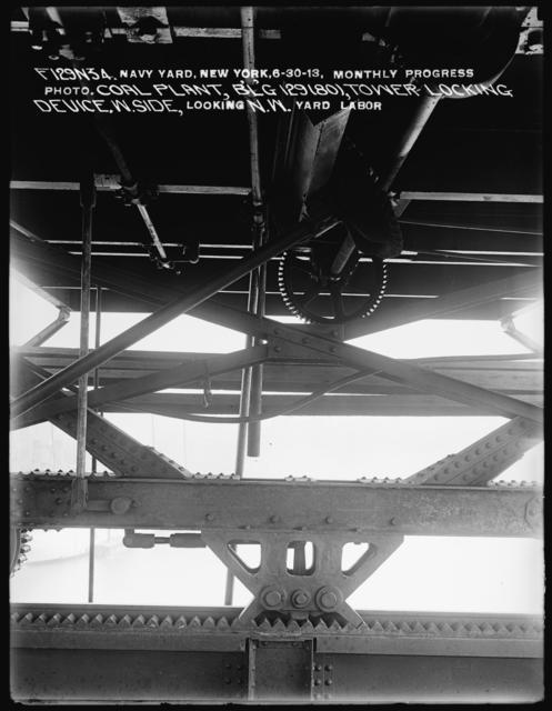 Monthly Progress Photo, Coal Plant Building 129 (80), Tower Locking Device Looking Northwest, Yard Labor