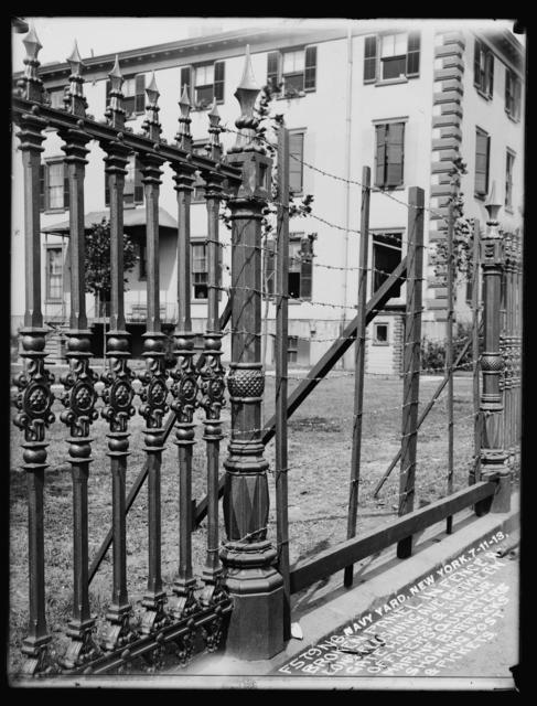 Broken Panel in Fence Along Flushing Avenue Between Gate House and Junior Officers' Quarters Marine Barracks, Showing Post and Pickets