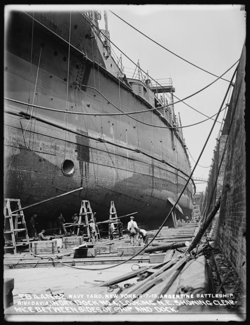 Argentine Battleship Rivadavia Just About in Dry Dock No. 4, Looking Northeast, Showing Clearance Between Sides of Ship and Dock