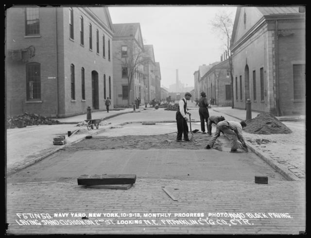 Monthly Progress Photo, Wood Block Paving, Laying Sand Cushion on 2nd Street, Looking Northeast, Franklin Contracting Company, Contractor