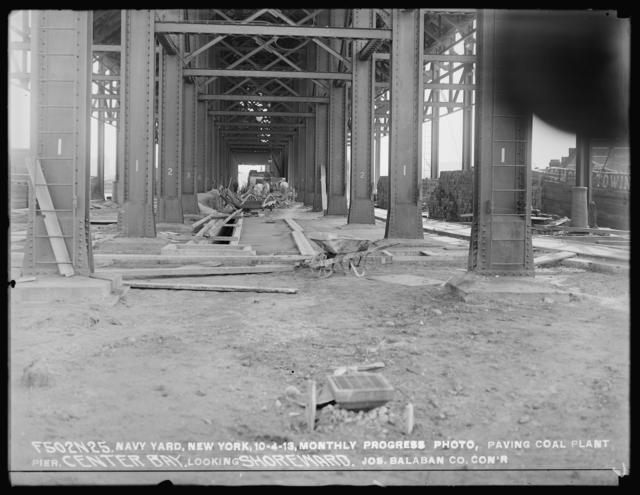 Monthly Progress Photo, Paving Coal Plant Pier, Center Bay, Looking Shoreward, Joseph Balaban Company, Contractor