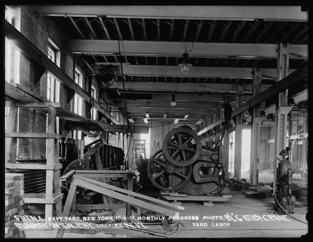 Monthly Progress Photo, Building 117 (19), Crane Runway in Southwest Bay, Looking Northwest, Yard Labor