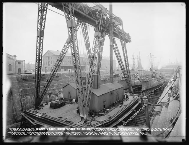 Floating Crane Hercules and Three Destroyers in Dry Dock Number 4 Looking North