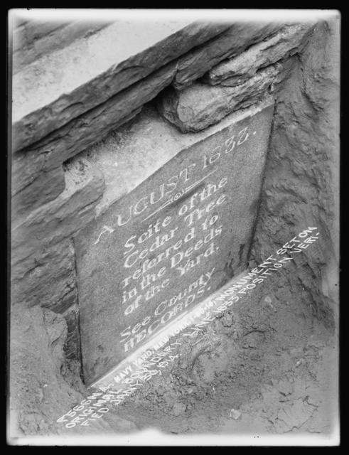 Monument Set on Original Boundary Line 1833, Position Verified January 30, 1914