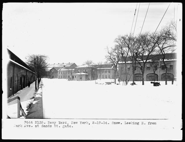 Snow, Looking North from Park Avenue at Sands Street Gate