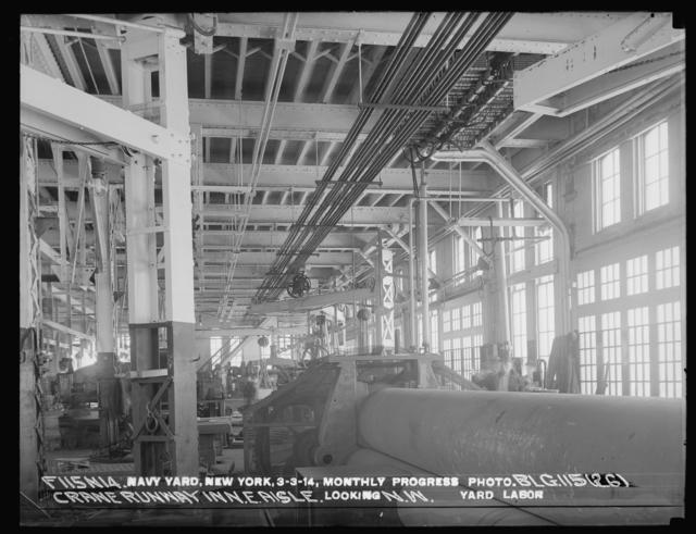 Monthly Progress Photo, Building 115 (26), Crane Runway in Northeast Aisle, Looking Northwest, Yard Labor