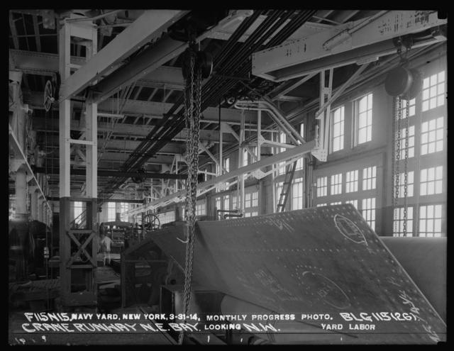 Monthly Progress Photo, Building 115 (26), Crane Runway in Northeast Bay, Looking Northwest, Yard Labor