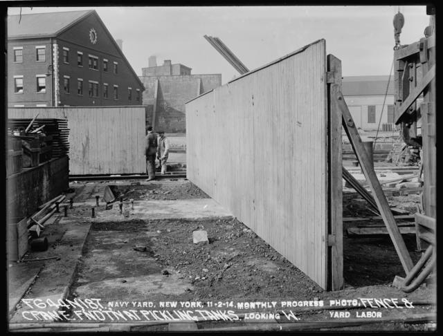 Fence and Crane Foundation at Pickling Tanks, Looking West, Yard Labor