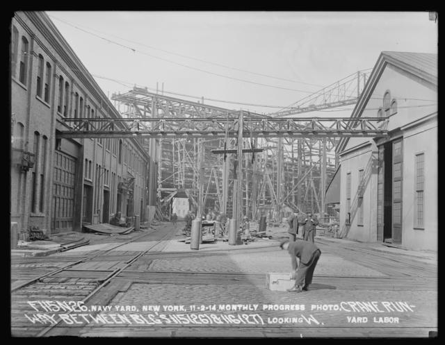 Monthly Progress Photo, Crane Runway between Buildings 115 (26) and 116 (27), Looking West, Yard Labor