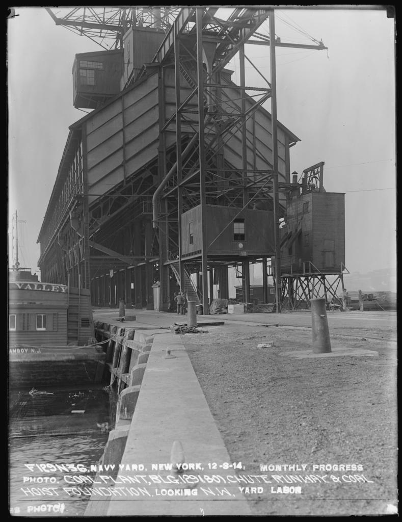 Monthly Progress Photo, Coal Plant Building 129 (80), Chute Runway & Coal Hoist Foundation, Looking Northwest, Yard Labor