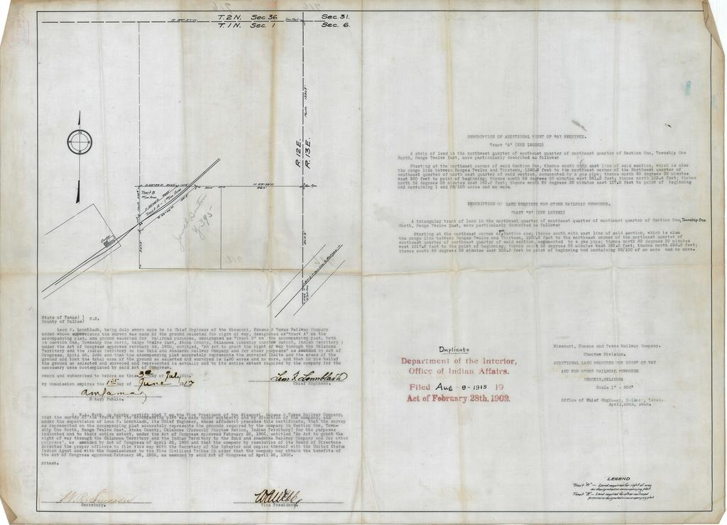 Missouri, Kansas and Texas Railway Company, Choctaw Division, Additional Right Of Way Required, Chockie, Oklahoma