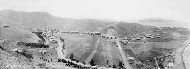 Overview of Fort Baker in 1915. In the background in San Francisco Bay is Angel Island