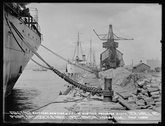 Monthly Progress Photo, Sea Wall Repairs, Ordnance Dock & Navy Yard Basin, Looking Northwest, Yard Labor, Yard Labor