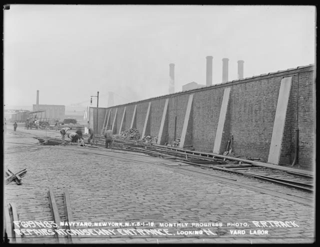 Monthly Progress Photo, Railroad Track Repairs at Causeway Entrance, Looking North, Yard Labor