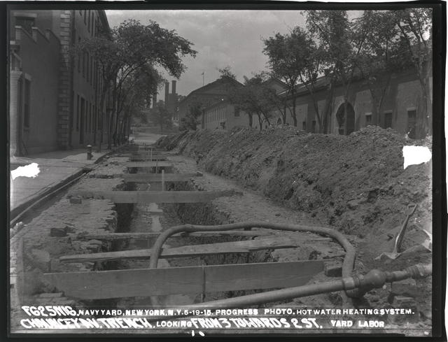 Progress Photo, Hot Water Heating System Chauncey Avenue Trench Looking from Third Towards Second Street, Yard Labor