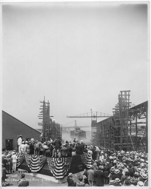USS Arizona, Afloat, Navy Yard, New York