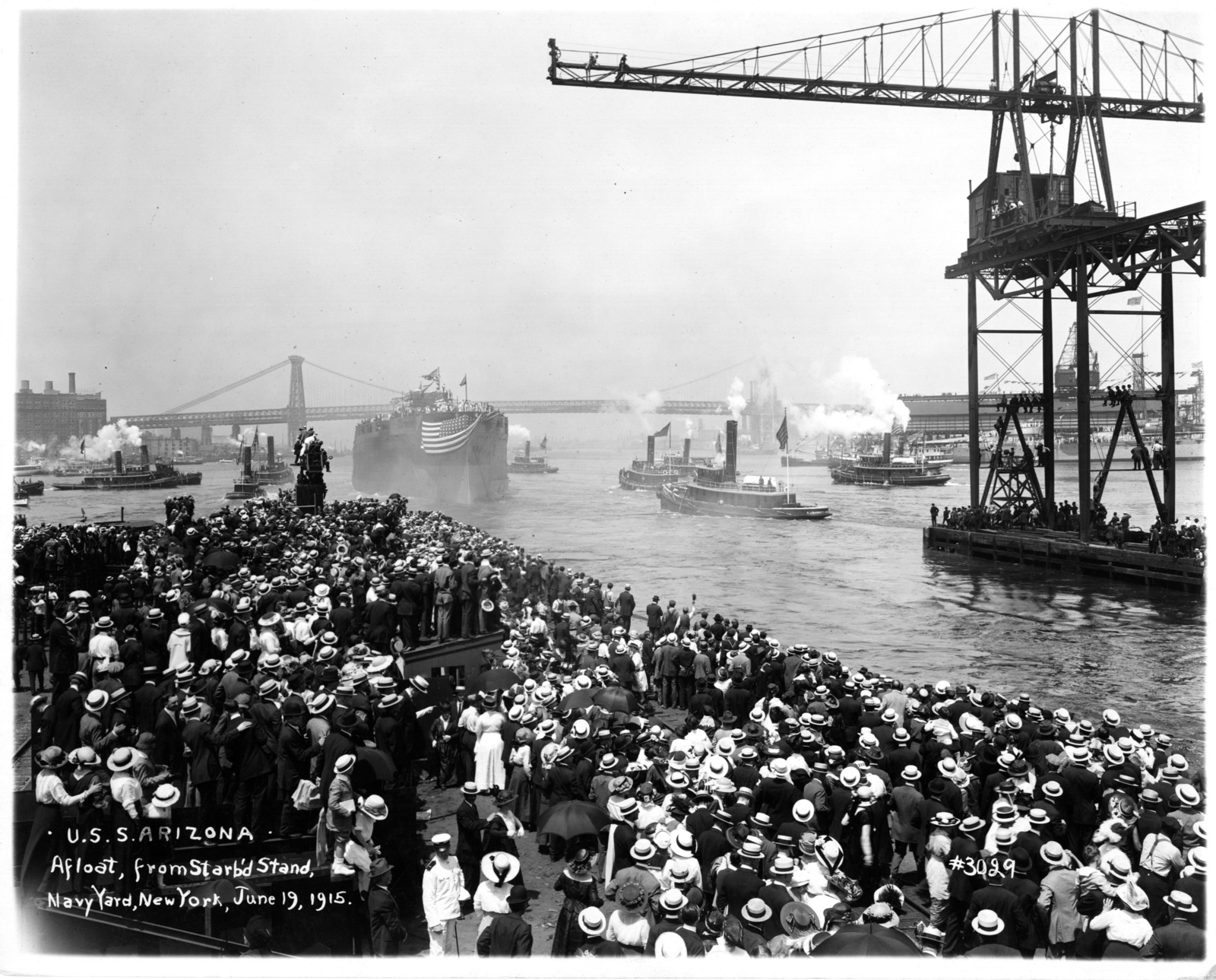 USS Arizona, Afloat from Starboard Stand, Navy Yard, New York