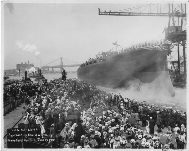 USS Arizona, Approaching End of Ways, Navy Yard, New York