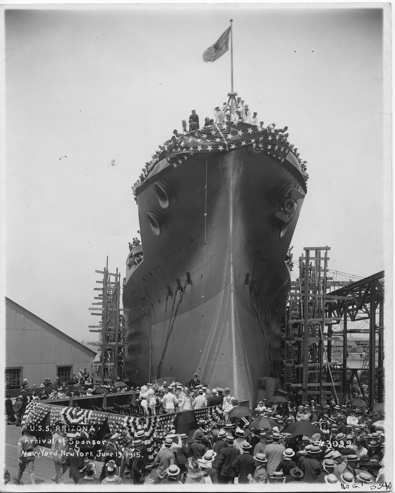USS Arizona, Arrival of Sponsor, Navy Yard, New York
