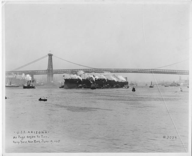 USS Arizona, As Tugs Began to Tow, Navy Yard, New York