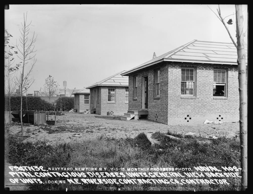 Monthly Progress Photo, Naval Hospital Contagious Diseases Units - General View Backside of Units, Looking Northeast, Riverside Contracting Company, Contractor