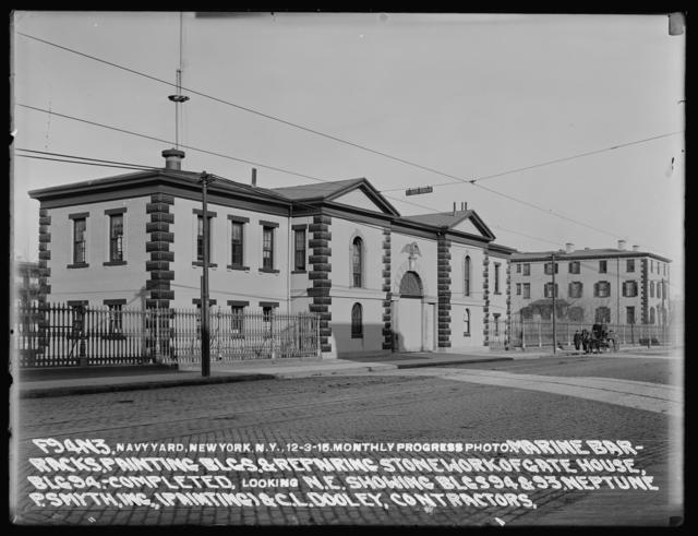 Monthly Progress Photo, Marine Barracks, Painting Buildings and Repairing Stonework of Gate House, Building 94 Completed, Looking Northeast, Showing Buildings 94 and 93, Neptune P. Smyth, Inc. (Painting) and C. L. Dooley, Contractors