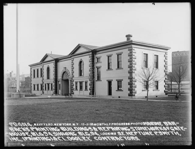 Monthly Progress Photo, Marine Barracks, Painting Buildings and Repairing Stonework of Gate House, Building 94, Showing Building 94, Looking Southeast, Neptune P. Smyth, Inc. (Painting) and C. L. Dooley, Contractors