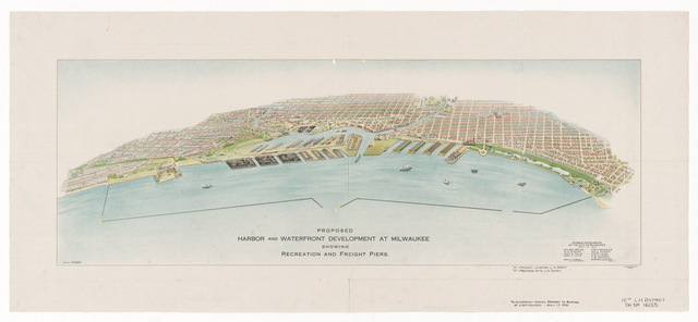 Drawing Showing a View the Harbor and Depot Site at Milwaukee, Wisconsin