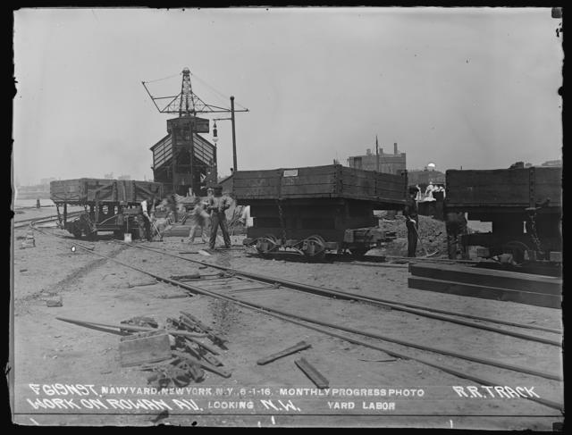 Monthly Progress Photo, Railroad Track Work on Rowan Avenue, Looking Northwest, Yard Labor
