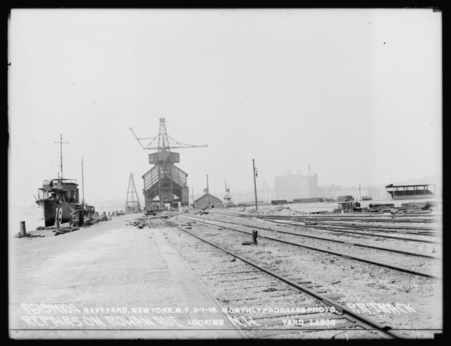 Monthly Progress Photo, Railroad Track Repairs on Rowan Avenue, Looking Northwest, Yard Labor