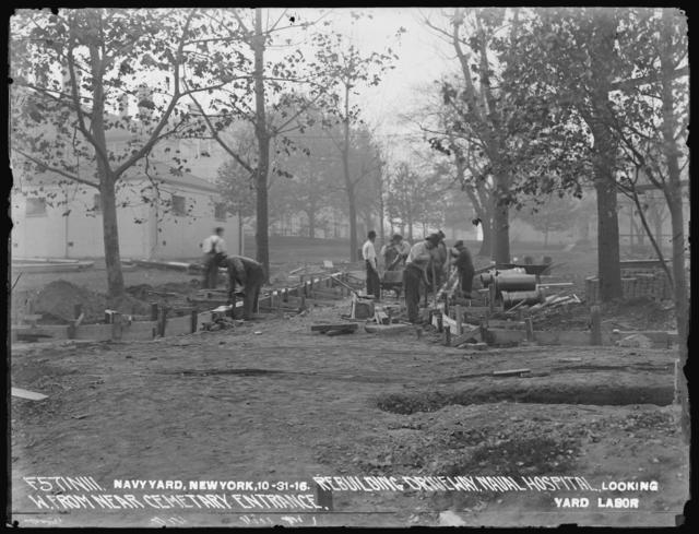 Rebuilding Driveway, Naval Hospital, Looking West from near Cemetery Entrance, Yard Labor