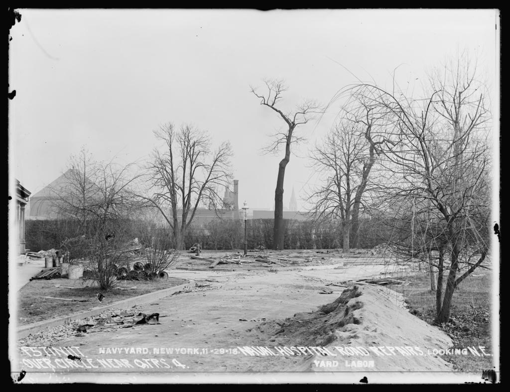 Naval Hospital Road Repairs, Looking Northeast Over Circle Near Quarters 4, Yard Labor