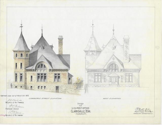 Presentation Drawing  of Clarksville TN Post Office