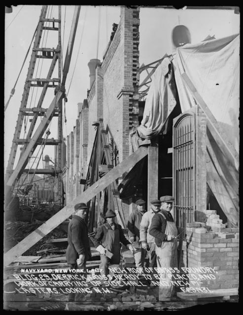New Roof of Brass Foundry, Building 29, General View of Pile Driver Rigged as Derrick and of New Roof Trusses in Place, Looking Northwest