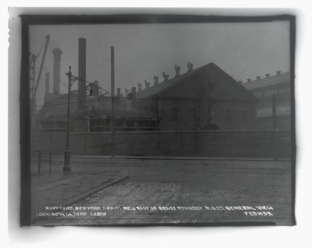 New Roof of Brass Foundry, Building 29, General View Looking Northwest