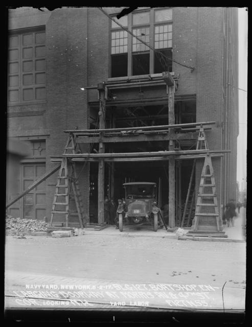 Building 126, Boat Shop, Enlarging Doorway at Morris Avenue and 4th Street Corner, Looking Northwest, Yard Labor