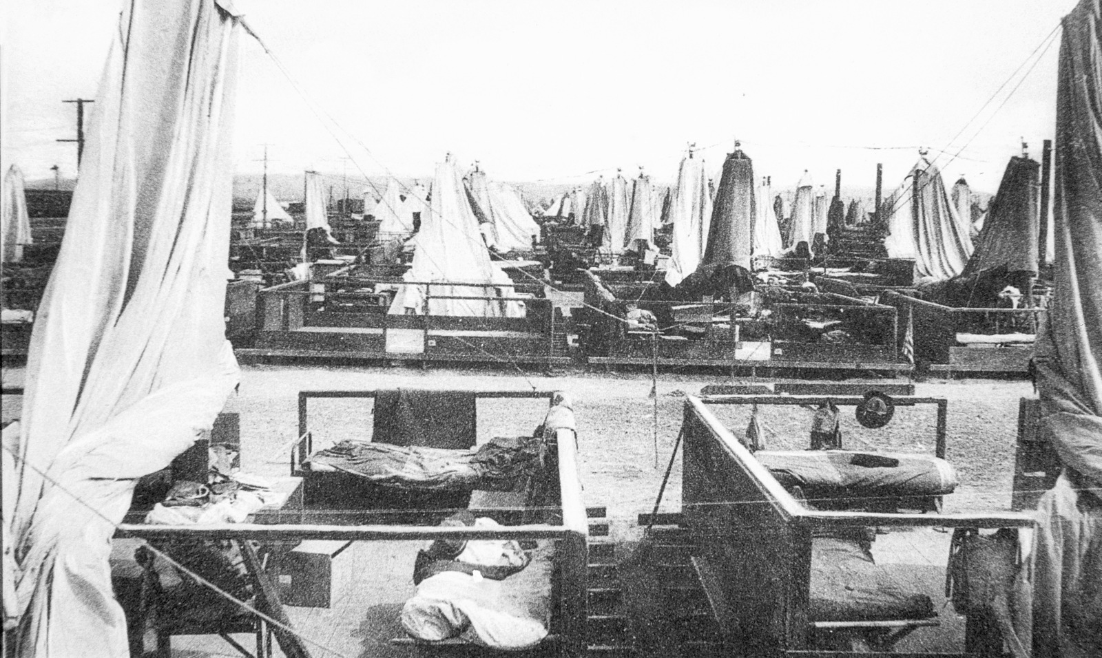 A field of Mushroom Tents, both closed and open, at Camp Kearny, California (CA). Note: In the future this area became the US Navy (USN) Naval Air Station Miramar. (Exact Date Shot Unknown)