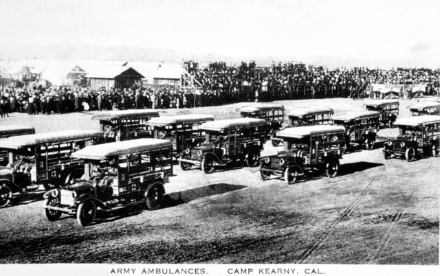 A fleet of US Army (USA) Dodge Army Ambulances, 115th Sanitary Train, 40th Division, at Camp Kearny, California (CA). The Sanitary Train became the 115th Medical Regiment. Note: In the future this area became the US Navy (USN) Naval Air Station Miramar. (Exact Date Shot Unknown)