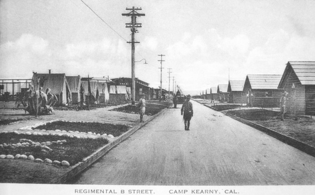 A view looking down Regimental B Street near the YMCA at Camp Kearny, California (CA). Note: In the future this area became the US Navy (USN) Naval Air Station Miramar. (Exact Date Shot Unknown)