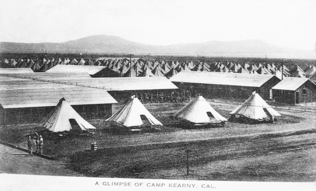 An overview of the camp for the 145th Field Artillery Regiment (1ST Utah Field Artillery) at Camp Kearny, California (CA). Note: In the future this area became the US Navy (USN) Naval Air Station Miramar. (Exact Date Shot Unknown)