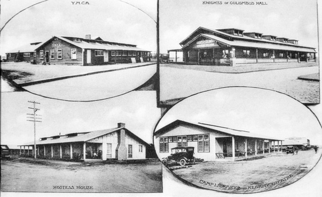 Composite shot of four buildings at Camp Kearny, California (CA). The buildings include the YMCA, the Knights of Columbus Hall, the Hostess House, Camp Library and Kearny Theaters. Note: In the future this area became the US Navy (USN) Naval Air Station Miramar. (Exact Date Shot Unknown)