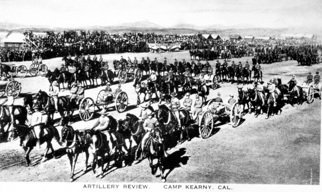 Members of the US Army (USA) 40th Division, 65th Field Artillery Brigade, regiments perform an Artillery Review with horse drawn 75 mm cannons at Camp Kearny, California (CA). Note: In the future this area became the US Navy (USN) Naval Air Station Miramar. (Exact Date Shot Unknown)